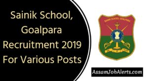 Sainik School, Goalpara Recruitment 2019