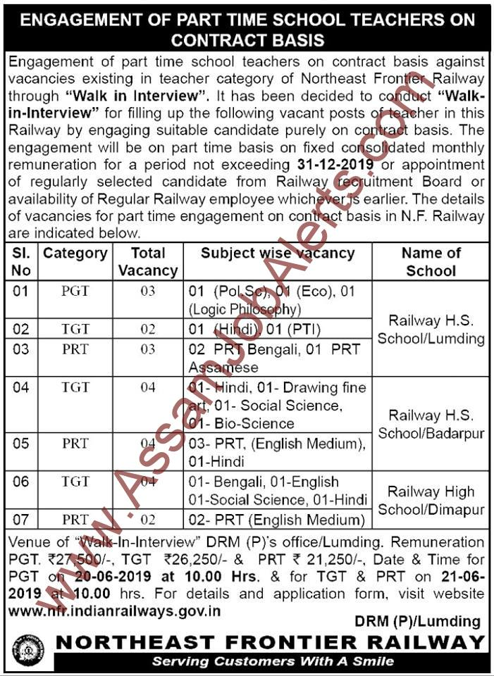 Northeast Frontier Railway Recruitment 2019 Of Pgt Tgt